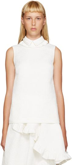 SIMONE ROCHA Ivory Beaded Collar Blouse. #simonerocha #cloth #blouse