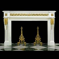 A FINE FRENCH 19TH CENTURY LOUIS XVI FIREPLACE IN WHITE STATUARY marble with rich ornate gilded ormolu Vitruvian scrolled decoration across the frieze, flanked by square floral endblock paterae, supported on generously scrolled console jambs with acanthus foliage decoration.