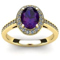 FireFacet 1 1/3 CT TW Oval-Cut Amethyst and Diamond 14K Gold Halo Ring