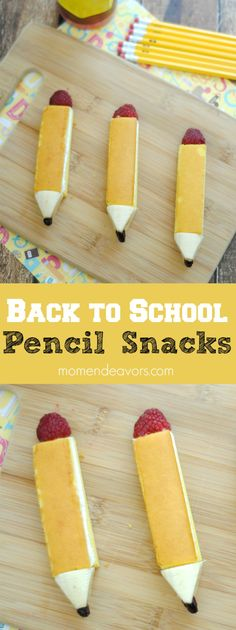 Back to School Edible Pencil Snacks - an adorable fun foods treat, perfect for a back to school breakfast, lunch, party, or after school snack!