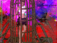 Ophelia. Christian 3D art, Cgi, Computer-generated imagery. Female in cage. Daz3D.