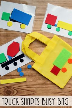 Toddler Busy Bag - make these truck shapes to keep your toddler busy anywhere that you go! A fun activity for those in pre-school! #triplepfeature