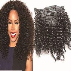 """12"""" Clip-In-Extensions fuer komplette Haarverlaengerung - hochwertiges Remy-Echthaar Afro verworrenes lockiges 8 Stücke natur schwarz"""