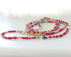 Bollywood 5 Wrap Beaded Bracelet Peridot Fuscia by NonaDesigns
