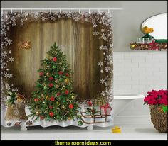 Christmas Holiday Designer's Collection Digital Graphic Print Christmas Morning Shower Curtain Non Vinyl Waterproof