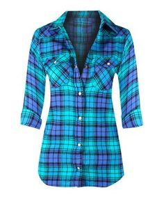 Violet & Turquoise Plaid Button-Up