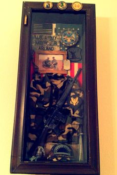 Army shadow box. Purchased at Hobby Lobby but then added our own personal touch.