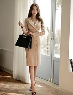 Women's Formal Work Simple Bodycon Dress,Solid Button V Neck Knee-length Long Sleeve Beige Spring Fall Mid Rise – USD $ 26.99