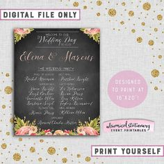 結婚式のパーティーのウェルカム サイン「甘い花柄」(印刷可能なファイルのみ) 黒板スタイル花嫁介添人花婿大判名水彩花柄