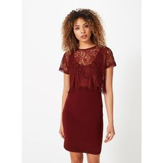 Miss Selfridge Burgundy Lace Midi Dress ($32) found on Polyvore featuring women's fashion, dresses, burgundy, lace dress, burgundy midi dress, red lace dress, red jersey dress and mid calf dresses