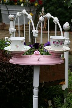 I love to create garden decorations from my flea market finds. Today for Pink Saturday I am posting a cute PINK double Bird Feeder I made fo. Garden Whimsy, Garden Junk, Outdoor Projects, Outdoor Decor, Outdoor Ideas, Teacup Crafts, Old Lights, Garden Crafts, Garden Projects