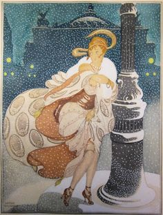 Gerda Wegener,  (1886-1940, Danish), ca. 1930, A Snowy Night at the Paris Opera.