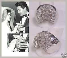Circle G Rings worn by Priscilla and Elvis Presley on their wedding day. Lisa Marie Presley, Priscilla Presley Wedding, Elvis And Priscilla, Elvis Presley Family, Elvis Presley Photos, Graceland, Before Wedding, Wedding Day, Wedding Rings