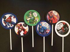 Custom Superhero Cupcake Toppers Batman Superman by sewcustom83