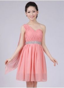 ELISA - A-line Knee length Chiffon One shoulder Chinese Cheap Wedding Party Dress