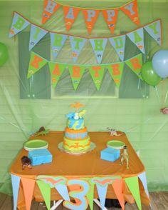 #dino #dinosaurs #birthday #party #dinosaurparty #3rdbirthday #boybirthday #orange #blue #green #partyideas #dinocake #dinosaurcake