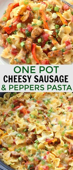This Cheesy Sausage and Peppers Pasta is made in one pot and is one of our dinner time favorites. It's full of juicy sausage, veggies, and pasta, all drenched in a creamy sauce and topped with melty cheese! #onepotmeal #cheesysausage #skilletmeal #familydinner