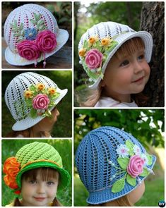 Crochet Panama Flower Hat Free Pattern [Video] to bright up Spring and Summer wear for girls and women: Crochet Summer Sun Hat, Crochet Girls Cloche Hat Crochet Gratis, Free Crochet, Knit Crochet, Crotchet, Baby Girl Hats, Girl With Hat, Crochet Girls, Crochet For Kids, Knitting Patterns