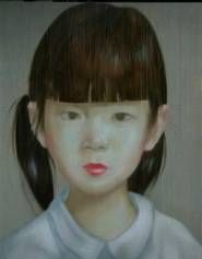 "Painting - Portrait by Thai Artist Attasit Pokpong ""Girl"" 180x140cm at Tusk Art Gallery"