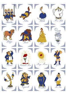 16 Card Set Navy & Gold Beauty And The Beast Character Wedding