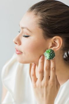 Living succulent statement stud earrings. by PassionflowerToWear