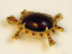 Vintage Signed DeNicola Amber Glass Rhinestone Turtle Brooch  #vintageturtlebrooch #DeNicola $42.00