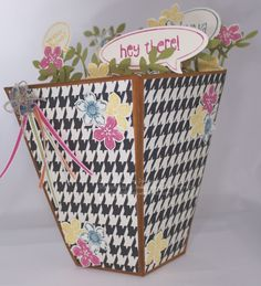 Flower Pot shaped card in a box made by Sam Johnson, Stampin' Up! UK Independent Demonstrator. Sam's Crafty Things