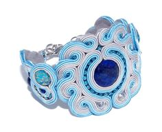 soutache bracelet lapis and jasper by KoralArtt on Etsy, $70.00