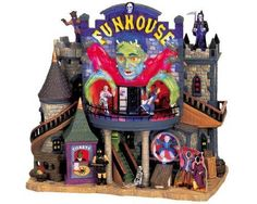 Lemax Spooky Town Village Collection Spooky Town Funhouse Lighted Building 65344 #Lemax