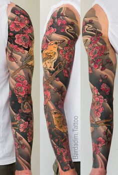 Japanese Full Sleeve Tattoo. Japanese Bush Warbler and Plum Blossoms by George Bardadim. For info about this sleeve click the link. #japanesetattoos