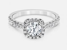 14kt white gold cushion-shaped halo diamond semi-mount engagement ring with 0.33 ctw. Center stone sold separately. | Diamond Engagement Rings from Do...
