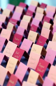 Place Cards in Red, Pink, and Tan Colors