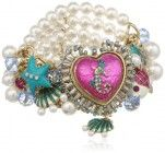 """Betsey Johnson """"Jewels of the Sea"""" Sea Horse Heart Charm and Pearl Half Stretch Bracelet, 7.5″"""