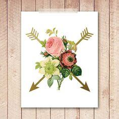 Arrow Art Print, Vintage Floral Art Print, 8x10 Printable, Indie Wall Art, Indie Poster, Instant Download, Digital File