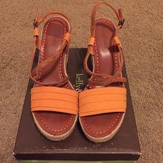 Orange Wedges Never worn orange wedges. Kelly & Katie Shoes Wedges