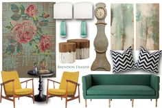 Eclectic Yellow & Mint Idea Board by Brendon Frasier #ideaboard