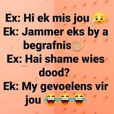 Funny Quotes About Life, Life Quotes, Afrikaans, Jokes, Humor, Feelings, Sayings, South Africa, Quotes About Life