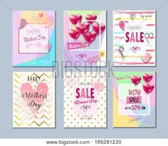 Set of Valentine's day, Mothers Day card, sale and web banners flyers templates with lettering, hearts, balloons. Typography poster, label, brochure banner design collection. Love, Romance promotion