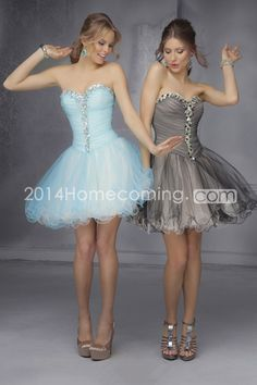 2014+Sweetheart+Pleated+Bodice+A+Line+With+Beads+Short/Mini+Homecoming+Dress