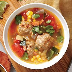 Tortilla Soup with Chorizo and Turkey Meatballs | MyRecipes.com   ** I did not put corn tortilla in the soup. Rather, I added organic blue corn chips into my bowl of soup at serving time. Good. Easy. Kiddo liked it too.