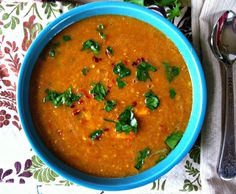 Moroccan Red Lentil Soup Recipe Soups with extra-virgin olive oil, onions, celery ribs, carrots, garlic cloves, ground coriander, ground cumin, ground turmeric, sweet paprika, ground cinnamon, sea salt, pepper, vegetable broth, crushed tomatoes, red lentils, lemon, red pepper flakes, flat leaf parsley, fresh cilantro
