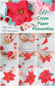 Crepe Paper Poinsettia Flower Tutorial: Create Christmas and Holiday decor with this free poinsettia template and step by step tutorial. Crepe Paper Crafts, Crepe Paper Roses, Paper Flowers Diy, Flower Crafts, Flower Diy, Tissue Paper, Easy Christmas Crafts, Christmas Ideas, Christmas Decorations