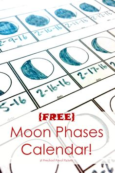 {FREE} moon phase tracking printable! Perfect for preschool, kindergarten, elementary, and even some older kiddos!