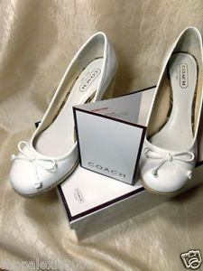 """558c6cb45a COACH Ireland Crackle Shoes White Patent Leather Wedge SZ 9M 3 ½"""" Heel w Box"""
