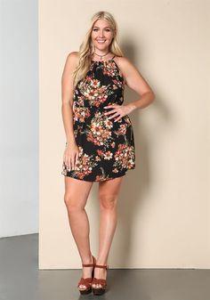 Plus Size Clothing | Plus Size Floral Keyhole Shift Dress | Debshops.com