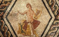Detail of Orpheus, from the Orpheus mosaic at the Surgeon's house, Rimini.