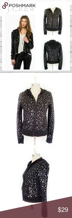 """J. Crew Enjoy Sparkle Sequin Hoodie Sweater Sz M J. Crew Enjoy Sparkle Sequin Hoodie Zip Cardigan Sweater Sz M. Worn a few times and has some loose sequins. Really hard to tell and mostly under the arm area. Does not detract from sweater at all. Super cute and very warm! Stay cozy on date night or brunch with the girls. Bust measures approximately 18"""" across laying flat and length 21"""" from shoulder to hem.Bundle and save! Sorry no trades. J. Crew Sweaters Cardigans"""