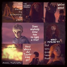 The Adventures of the Big Four: Page 17  by 1JoyDreamer.deviantart.com on @deviantART The four adventurers have had a full afternoon of exploring, and Merida has taught Rapunzel how to swim. Evening is on them and so they light a fire to get warm. Suddenly Hiccup notices Toothless is missing and Rapunzel hears a deep growl from the woods.