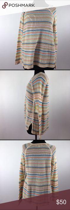 """Sugrid Olsen Multi- color long sleeve knit sweater . Length 26"""" Sku:0124E (L) Sigrid Olsen Tops Tees - Long Sleeve"""