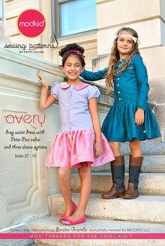 NEW Avery - Drop-Waist Dress - Modkid (size 2T-10) - $12.95 : Whimsical Designs